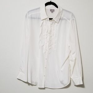 J. Jill Silk Blend Ivory Ruffle Button Down Blouse